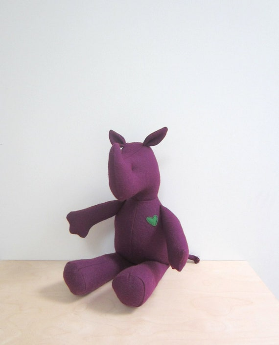 Small Rhino doll upcycled, eco friendly vintage eggplant Purple Wool soft unique personalized gift bubynoa Best Friend