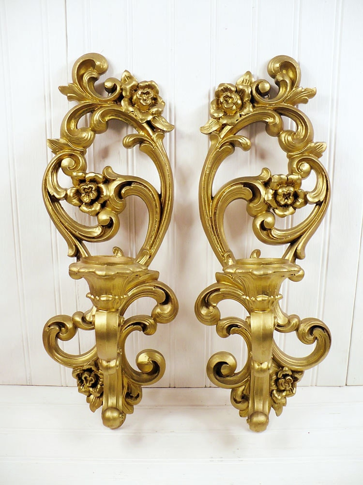Wall Sconces Gold : Popular Wooden Project - Gold Candle Wall Sconces