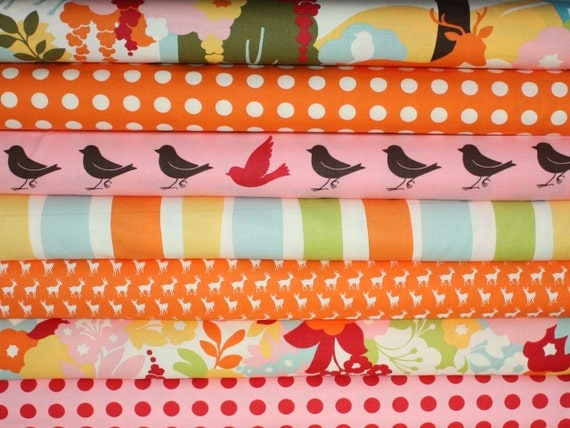Oh Deer Japanese fabric bundle by Momo for Moda - Orange Fat Quarter Bundle- 7 total