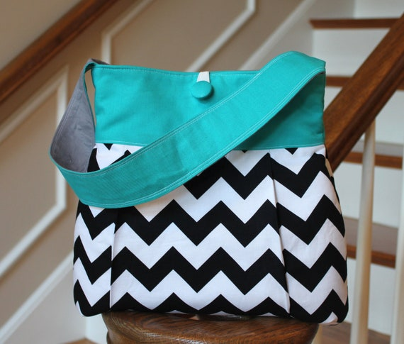Nantucket Bag -  Reversible Purse with Zipper Pocket - Black and Grey Chevron Stripes