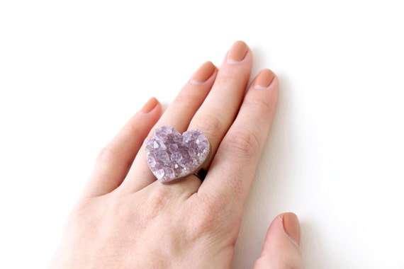 Amethyst heart Ring - brass
