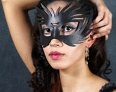 Wildcat leather mask in black