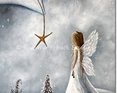 CHRISTMAS ANGEL fairy ART Print by erback beautiful white faery wings star snow 5x7 Holiday Decor