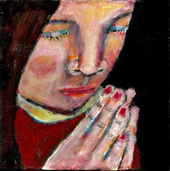 Acrylic Portrait Painting Original Religious Spiritual Prayer Praying Hands 6x6 canvas board little girl No 6
