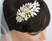 Bridal Headband, Leaves and Rhinestone flowers, Gold and Silver Rhodium Mixed Metal, Wedding Hair Accessories, Eliana Garden