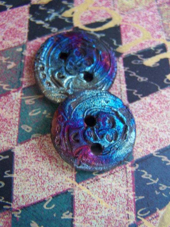 Two  Primitive  Angel Buttons ...