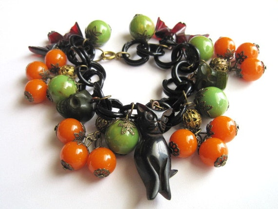 Vintage Celluloid and Bakelite Halloween Charm Bracelet