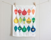 Multi-Colored Christmas Tree Ornaments - Linen Cotton blend Tea Towel18 x 24 inch - wickedmint