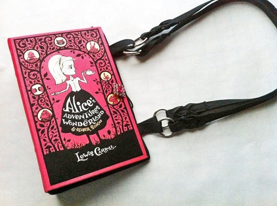 Alice In Wonderland Book Purse - CHOOSE YOUR HANDLE