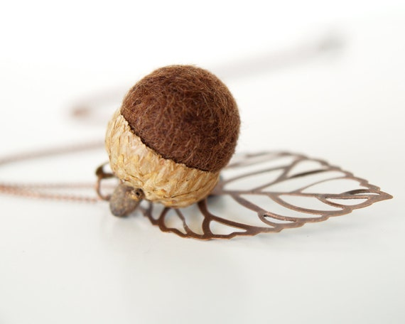 Acorn Necklace, Fun Fall Autumn Gift,  needle felted wool jewelry, nature inspired and eco friendly - Egplant Purple