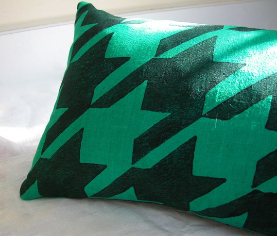 emerald green and black houndstooth home decor pillow case