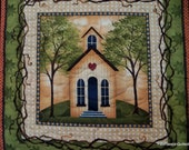 Fall Wall Hanging School House Browns, Oranges, Greens - PatsPassionQuilteds