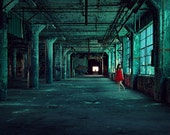 The Green Hallway - 8x12 Fine Art Photography Print - abandoned urban decay factory portrait red dress teal blue home decor photograph - riotjane