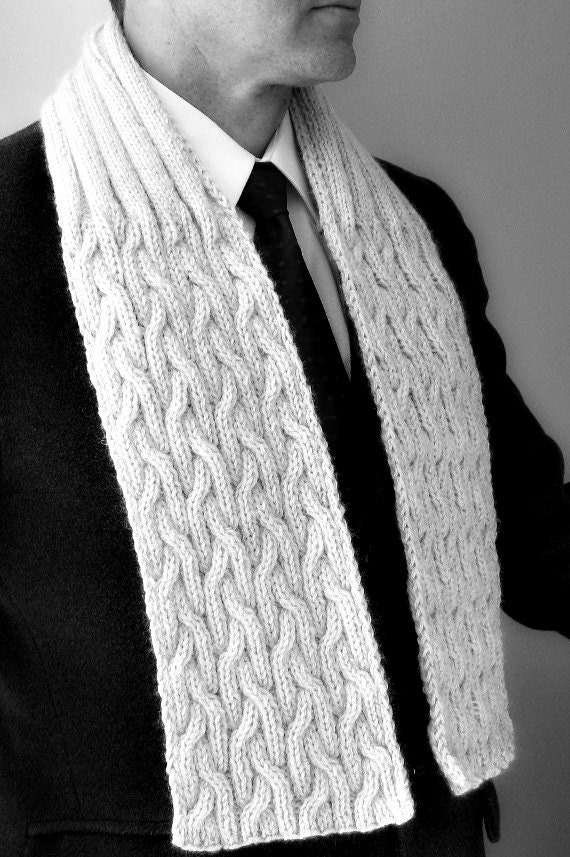 Scarf mens hand knit natural knitted cable scarves by LambsEars Hand Knitted Men's Scarves
