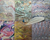 hand marbled paper 6 hand craft Scrapbooking Pack card making   9,75