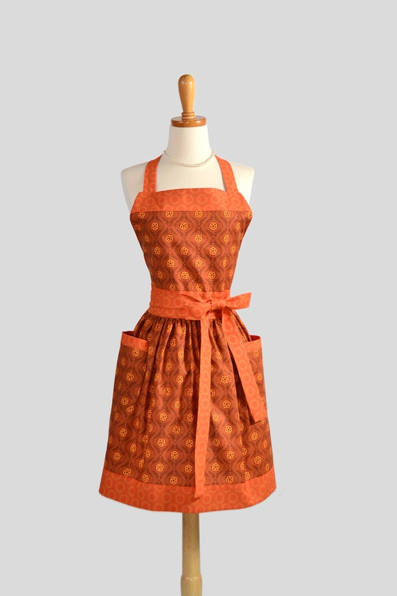 Womens Bib Full Apron . Full Kitchen Apron Handmade in Fall Colors of Riley Blakes  Brown and Orange Perfect for Monogram or Personalization