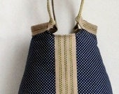 Handbag Purse Navy blue French  shoulderbag with dots TRES CHIC - madebynanna