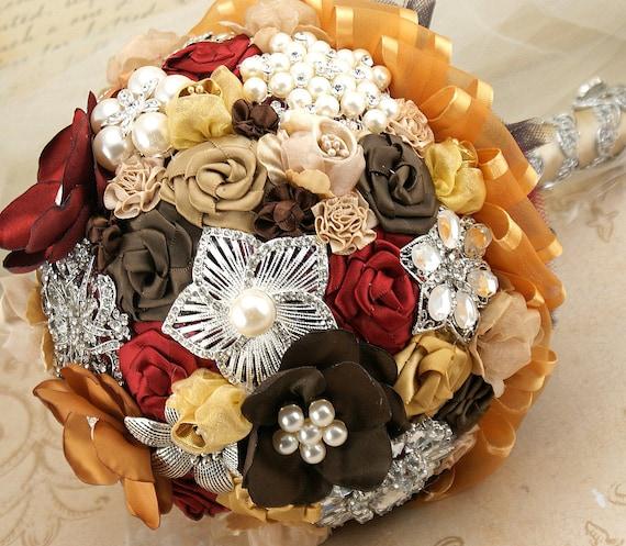 Брошь Букет Jeweled Букет в шоколадно-коричневый, какао, красный гранат и золото