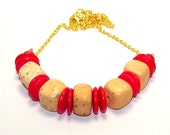 Inventory Clearance Sale. Nude Red Nugget Necklace. Sale