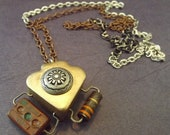 Pendant Golden Spade Chain Necklace Industrial Chic Diesel Punk Upcycled OOAK Electronic Hardware Found Objects - TursiArt