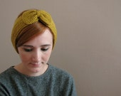 Mustard Bow Knitted Headband - KokoshKnitting