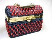 Vintage Raffia and Beaded ITALIAN PURSE - Navy Blue with Red Beads - WellWudJaLookAtThat