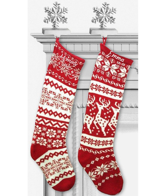 Knit Christmas Stockings - Red White - Renindeer or Snowflake Design
