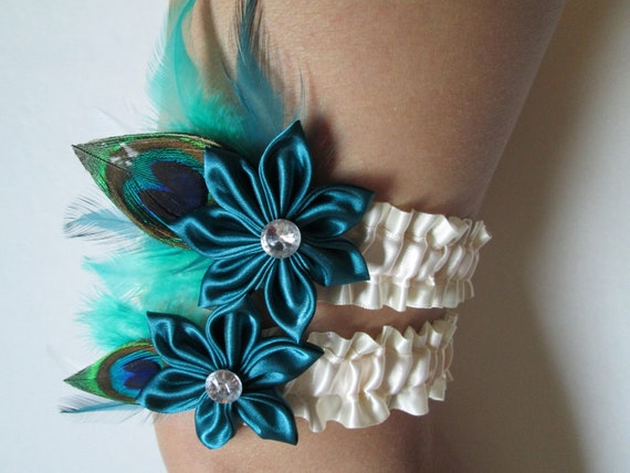 Bridal Wedding Garter Set In Ivory Satin, Teal Green Kanzashi Flowers, Peacock & Teal Feathers, Alternative Destination Flapper Bride