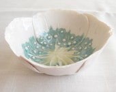 Handmade white porcelain poppy bowl, with aqua and lime ceramic glazes - VanillaKiln