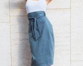 High Waist Pencil Skirt Womens Clothing in Distressed Blue Gray Slate Twill Custom Made - FineThreadz