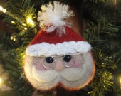 Santa Claus Christmas Tree Ornament - Needle Felted Wool - Charity - FeltLikeHelping