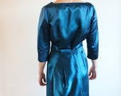 60s cocktail dress -  teal blue satin cocktail dress - vintage dresses - QuinceVintage