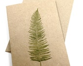 Note Cards - Gift Cards - Hand Printed Brown Kraft Card Stock - Fern - Set of 5 - everydaysaholiday