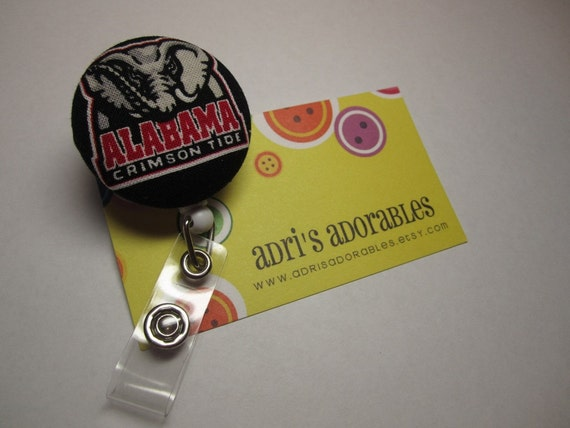 Retractable Badge Reel - Alabama Crimson Tide Big - Al - Ready to Ship - Security Badge Holder - Swivel Alligator Clip