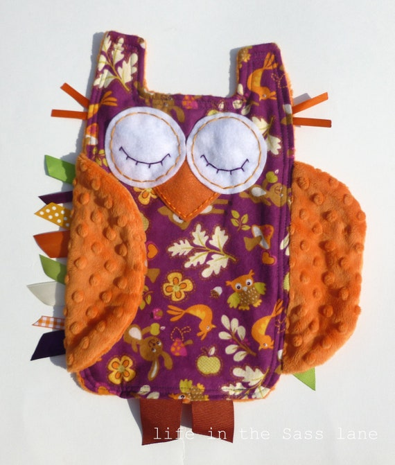 Minky OWL Ribbon Tag Baby Blanket in Magenta and Orange Woodland Animals Print Blankie Lovey Lovie Baby Gift