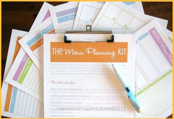 INSTANT DOWNLOAD The Menu Planning Kit - BRIGHTS - 7 documents