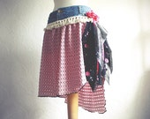 Pink Gypsy Skirt Shabby Chic Knee Length Black Floral Upcycled Clothing Bohemian Clothes Recycled Jeans Large 'CICILY'