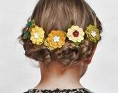 Felt Flowers- Flower Hair Clips in Fall Colors, set of three, YOU CHOOSE - giddyupandgrow