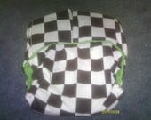 Adult Special Needs,Black and White CheckerBoard with Green Minky Lining ...