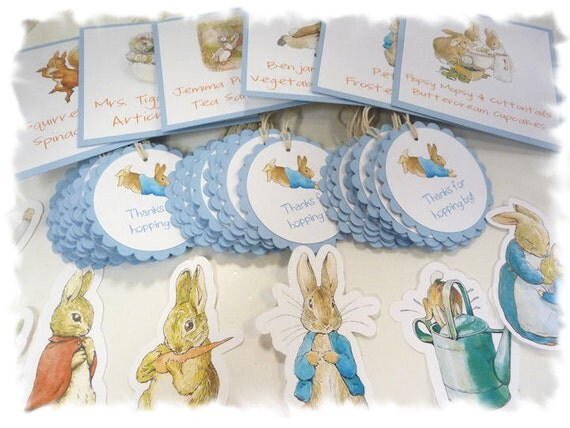 PETER RABBIT Beatrix Potter Party Package 3 - Food Table Signs, Favor Tags, Cutout Characters, Name Banner, Bunting