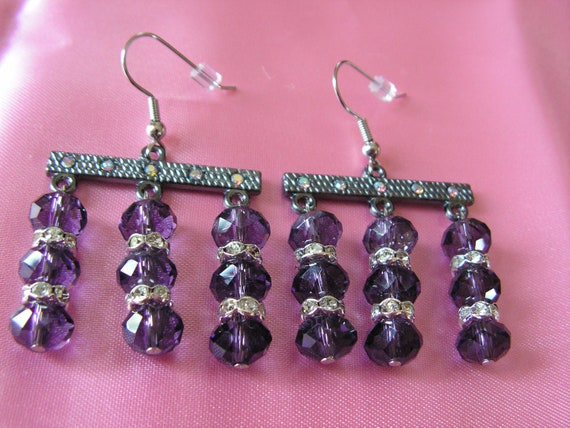 Purple Crystal and Rhinestone Chandelier Earrings
