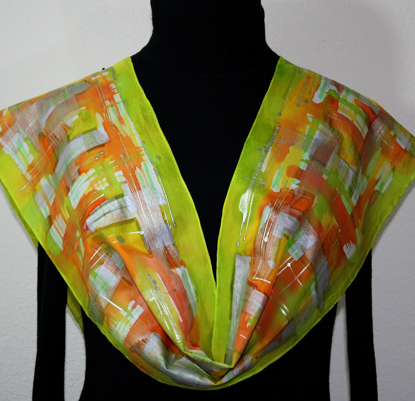 Silk Scarf Aspen Sunrise Hand Painted Silk Scarf in Lime Orange  Watercolor Hand Painted Silk Scarves