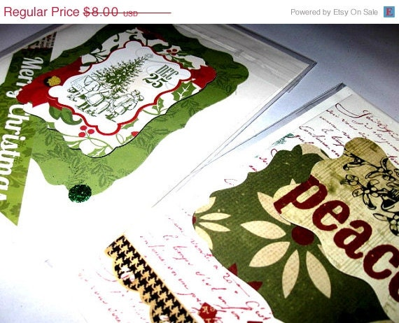 LaSt MiNuTe ShOpPing Christmas Holiday Greeting card - Green Red Set of 2