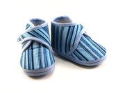 Baby Booties Striped Baby Shoes Newborn Winter Pale Blue Boys