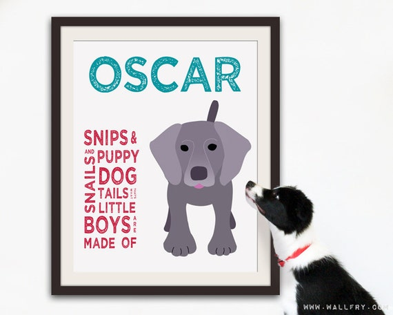 Personalized children art for boys. Baby boy nursery art. Baby nursery wall art. Kids wall art. Boy name art. 16X20 Dog print by WallFry