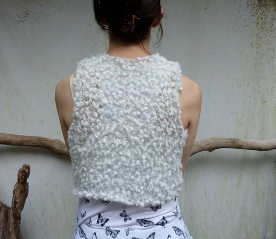 White Winter Bodice, hand knitted in wild yarn, READY TO SHIP