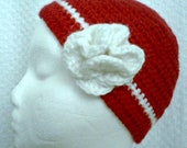 Red White Cloche Beanie Hat With White Flower