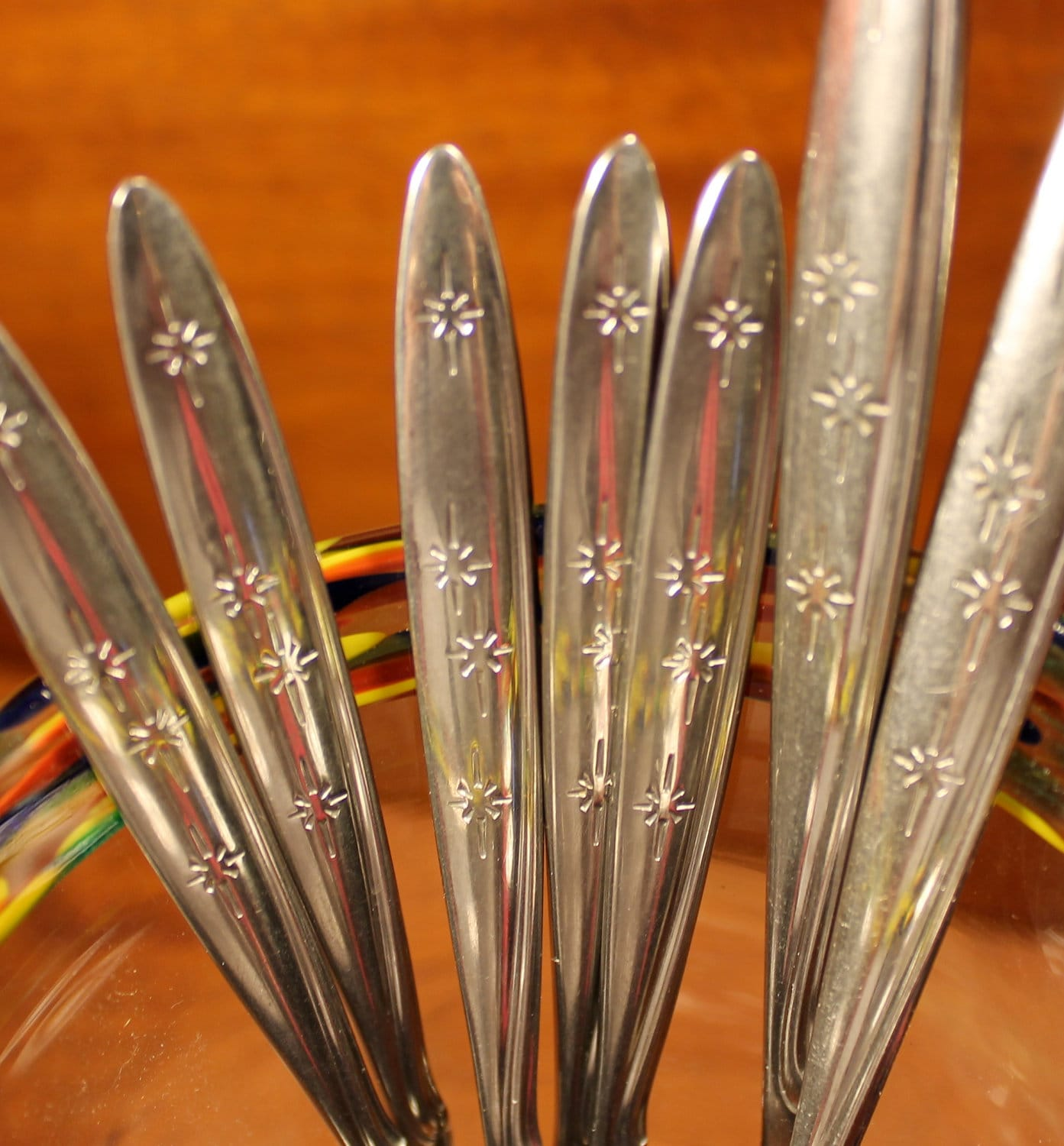 Vintage Flatware in Sunburst Pattern from Oneida by AtomicHoliday