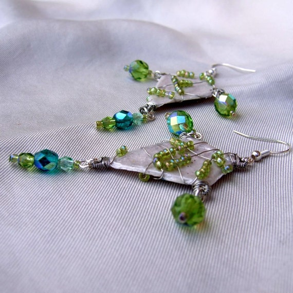 Vintage russian inspired green glass earrings