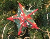 Red Green Star Christmas Ornament Embellished Paper Mache Star Paper Buttons Ric Rac - SnowNoseCrafts